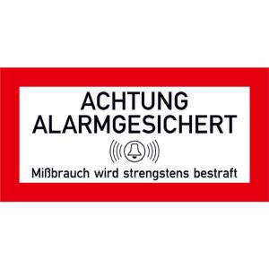 Hinweisschild für Schutzschränke, Achtung alarmgesichert (Größe (BxH)/Lieferform: 105 x 52 mm / 3er-Bogen (Art.Nr.: 30.c9020))