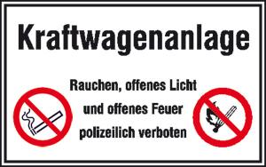 Hinweisschild für Tankanlagen und Garagen, Kraftwagenanlage ... (Ausführung: Hinweisschild für Tankanlagen und Garagen, Kraftwagenanlage ... (Art.Nr.: 41.5202))