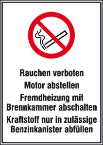 Hinweisschild für Tankanlagen und Garagen, Rauchen verboten (Ausführung: Hinweisschild für Tankanlagen und Garagen, Rauchen verboten (Art.Nr.: 43.5775))