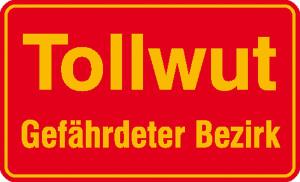Hinweisschild für Wald- und Freizeitanlagen, Tollwut Gefährdeter Bezirk (Ausführung: Hinweisschild für Wald- und Freizeitanlagen, Tollwut Gefährdeter Bezirk (Art.Nr.: 11.5446))