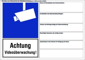 Hinweisschild zum Datenschutz (DSGVO) bei Videoüberwachung, inkl. Datenschutzhinweisen (Material: Weich-PVC-Folie (0,1 mm) (Art.Nr.: 21.g5040))