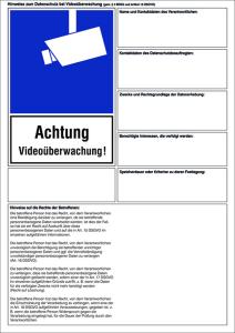 Hinweisschild zum Datenschutz (DSGVO) bei Videoüberwachung, inkl. Datenschutzhinweisen (Material: Weich-PVC-Folie (0,1 mm) (Art.Nr.: 21.g5045))
