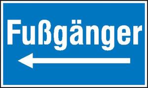 Hinweisschild zur Baustellenkennzeichnung, Fußgänger (Variante: linksweisend (Art.Nr.: 11.5017))