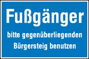 Hinweisschild zur Baustellenkennzeichnung, Fußgänger bitte ... (Ausführung: Hinweisschild zur Baustellenkennzeichnung, Fußgänger bitte ... (Art.Nr.: 11.5639))