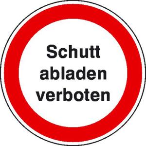 Hinweisschild zur Baustellenkennzeichnung, Schutt abladen verboten (Ausführung: Hinweisschild zur Baustellenkennzeichnung, Schutt abladen verboten (Art.Nr.: 11.1184))