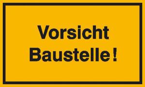 Hinweisschild zur Baustellenkennzeichnung, Vorsicht Baustelle!, gelb / schwarz (Ausführung: Hinweisschild zur Baustellenkennzeichnung, Vorsicht Baustelle!, gelb/schwarz (Art.Nr.: 11.5002))