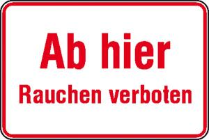 Hinweisschild zur Betriebskennzeichnung Ab hier Rauchen verboten (Ausführung: Hinweisschild zur Betriebskennzeichnung Ab hier Rauchen verboten (Art.Nr.: 11.5078))