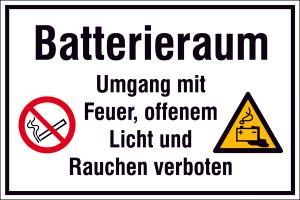 Hinweisschild zur Betriebskennzeichnung, -Batterieraum Umgang mit Feuer, ...- (Ausführung: Hinweisschild zur Betriebskennzeichnung, -Batterieraum Umgang mit Feuer, ...- (Art.Nr.: 41.d9065))