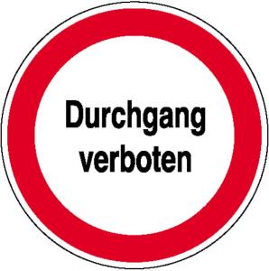 Hinweisschild zur Betriebskennzeichnung, Durchgang verboten (Ausführung: Hinweisschild zur Betriebskennzeichnung, Durchgang verboten (Art.Nr.: 11.1165))