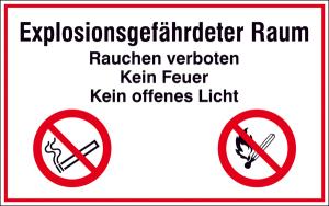 Hinweisschild zur Betriebskennzeichnung Explosionsgefährdeter Raum Rauchen verboten ... (Ausführung: Hinweisschild zur Betriebskennzeichnung Explosionsgefährdeter Raum Rauchen verboten ... (Art.Nr.: 41.d9050))