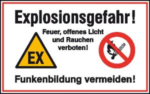 Hinweisschild zur Betriebskennzeichnung, -Explosionsgefahr! Feuer, offenes Licht und ...- (Ausführung: Hinweisschild zur Betriebskennzeichnung, -Explosionsgefahr! Feuer, offenes Licht und ...- (Art.Nr.: 41.5839))