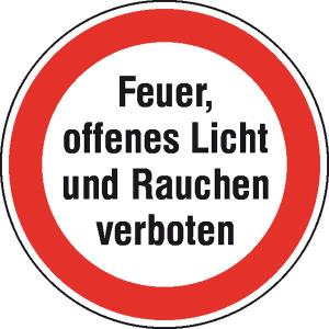 Hinweisschild zur Betriebskennzeichnung -Feuer, offenes Licht und Rauchen verboten- (Maße Ø/Material: 200 mm/Folie,selbstklebend (Art.Nr.: 21.1199))