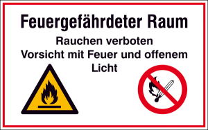 Hinweisschild zur Betriebskennzeichnung, Feuergefährdeter Raum Rauchen verboten ... (Ausführung: Hinweisschild zur Betriebskennzeichnung, Feuergefährdeter Raum Rauchen verboten ... (Art.Nr.: 41.d9060))