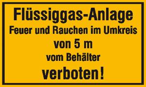 Hinweisschild zur Betriebskennzeichnung, Flüssiggas-Anlage Feuer und Rauchen ... (Maße (BxH)/Material: 250x150 mm/Folie, selbstklebend (Art.Nr.: 21.5846))