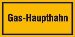 Hinweisschild zur Betriebskennzeichnung, Gas-Haupthahn (Maße(BxH)/Material: 200x100mm/Folie, selbstklebend (Art.Nr.: 21.5851))