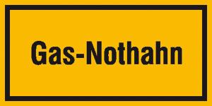 Hinweisschild zur Betriebskennzeichnung, Gas-Nothahn (Maße (BxH)/Material: 200x100mm/Folie, selbstklebend (Art.Nr.: 21.5857))