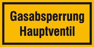 Hinweisschild zur Betriebskennzeichnung, Gasabsperrung Hauptventil (Maße (BxH)/Material: 200x100mm/Folie, selbstklebend (Art.Nr.: 21.5853))