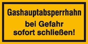 Hinweisschild zur Betriebskennzeichnung, Gashauptabsperrhahn bei Gefahr ... (Maße (BxH)/Material: 200x100mm/Folie, selbstklebend (Art.Nr.: 21.5855))