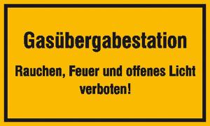 Hinweisschild zur Betriebskennzeichnung, Gasübergabestation ... (Maße (BxH)/Material: 250x150mm/Folie, selbstklebend (Art.Nr.: 21.5859))