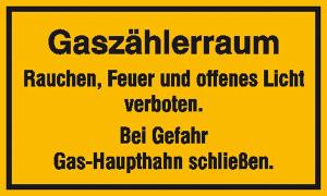 Hinweisschild zur Betriebskennzeichnung, Gaszählerraum ... (Maße (BxH)/Material: 250x150mm/Folie, selbstklebend (Art.Nr.: 21.5861))