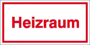 Hinweisschild zur Betriebskennzeichnung, Heizraum (Maße (BxH)/Material: 200x100mm/Alu, geprägt (Art.Nr.: 11.5045))