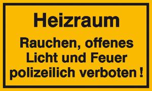Hinweisschild zur Betriebskennzeichnung, Heizraum Rauchen, offenes Licht und ... (Maße (BxH)/Material: 250x150mm/Alu, geprägt (Art.Nr.: 11.5047))