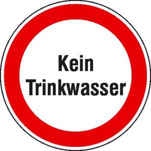 Hinweisschild zur Betriebskennzeichnung, Kein Trinkwasser (Maße Ø/Material: 100mm/Folie,selbstklebend (Art.Nr.: 21.1174))