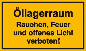 Hinweisschild zur Betriebskennzeichnung, Öllagerraum (Maße (BxH)/Material: 250x150mm/Folie, selbstklebend (Art.Nr.: 21.5979))