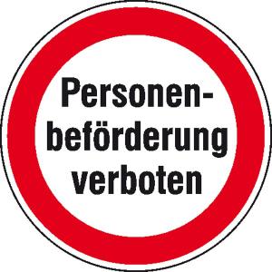 Hinweisschild zur Betriebskennzeichnung, Personenbeförderung verboten (Ausführung: Hinweisschild zur Betriebskennzeichnung, Personenbeförderung verboten (Art.Nr.: 21.1188))