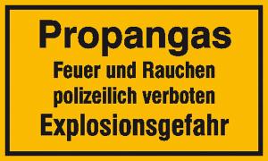 Hinweisschild zur Betriebskennzeichnung, -Propangas Feuer und Rauchen ...- (Maße (BxH): 250x150mm (Art.Nr.: 11.5848))