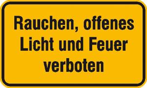 Hinweisschild zur Betriebskennzeichnung Rauchen, offenes Licht und Feuer verboten (Ausführung: Hinweisschild zur Betriebskennzeichnung Rauchen, offenes Licht und Feuer verboten (Art.Nr.: 11.5835))