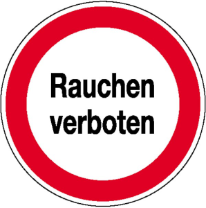 Hinweisschild zur Betriebskennzeichnung Rauchen verboten (Maße Ø / Material: 200 mm/Folie,selbstklebend (Art.Nr.: 21.1196))