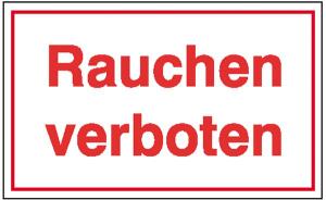 Hinweisschild zur Betriebskennzeichnung, Rauchen verboten (Maße (BxH)/Material: 250x70mm/Alu,geprägt (Art.Nr.: 11.5071))