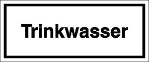 Hinweisschild zur Betriebskennzeichnung, Trinkwasser (Größe (BxH)/Material: 120x50mm/Folie,selbstklebend (Art.Nr.: 21.5384))