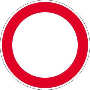 Hinweisschild zur Betriebskennzeichnung, Verbot für Fahrzeuge aller Art (Maße Ø/Material : 100 mm / Folie, selbstklebend (Art.Nr.: 21.1212))