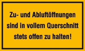 Hinweisschild zur Betriebskennzeichnung, Zu- und Abluftöffnungen ... (Material: Alu, geprägt und einbrennlackiert (Art.Nr.: 11.5981))