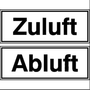 Hinweisschild zur Betriebskennzeichnung, Zuluft / Abluft, 1 Satz (Maße (BxH)/Material/Menge: 80 x 30mm / Folie, selbstklebend<br>VPE 1 Satz (Art.Nr.: 21.5052))
