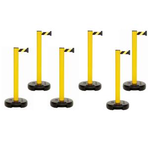 Hochvolt-Absperrung 6er-Set -Beltrac Outdoor- aus PVC, Gurtlänge 6x3,7m, mobil, versch. Füße (Modell: mit befüllbarem Fuß (Art.Nr.: 41134))