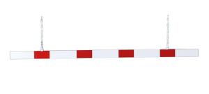 Höhenbegrenzer, einteilig 100 mm aus Aluminium-Hohlkastenprofil, rot / weiß, Länge 2000-6000 mm (Länge/Reflektionsfolie:  <b>2500 mm</b> / einseitige Beklebung (Art.Nr.: 41085))