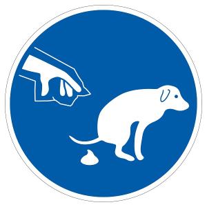 Hundeschild, Hundekot entfernen (Größe Ø/Material :  <b>100 mm</b> / Folie, selbstklebend (Art.Nr.: 21.g5110))