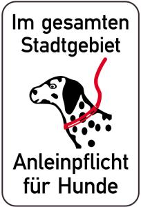 Hundeschild, Im gesamten Stadtgebiet Anleinepflicht für Hunde, 400 x 600 mm (Ausführung: Hundeschild, Im gesamten Stadtgebiet Anleinepflicht für Hunde, 400 x 600 mm (Art.Nr.: 14885))