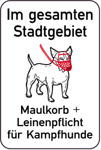 Hundeschild, Im gesamten Stadtgebiet Maulkorb + Leinenpflicht für Kampfhunde, 400 x 600 mm (Ausführung: Hundeschild, Im gesamten Stadtgebiet Maulkorb + Leinenpflicht für Kampfhunde, 400 x 600 mm (Art.Nr.: 14879))