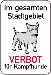 Hundeschild, Im gesamten Stadtgebiet VERBOT für Kampfhunde, 400 x 600 mm (Ausführung: Hundeschild, Im gesamten Stadtgebiet VERBOT für Kampfhunde, 400 x 600 mm (Art.Nr.: 14877))