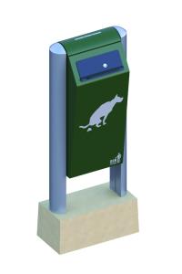 Hundetoilette -BINsystem- mit Abfallbehälter aus Stahl, Volumen 60 Liter (Farbe: grün (Art.Nr.: 35828))