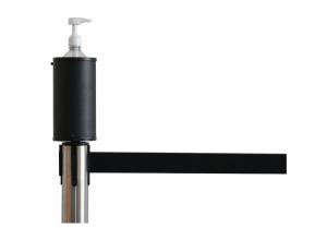 Hygiene-Aufsatz für Gurtpfosten inkl. Desinfektionsspender, aus Metall (Ausführung: Hygiene-Aufsatz für Gurtpfosten inkl. Desinfektionsspender, aus Metall (Art.Nr.: 40539))
