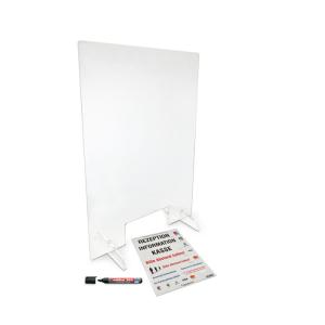 Hygiene-Trennwand -ECO- mit Durchreiche, aus Acrylglas, Höhe 980 mm, Breite 690 mm (Ausführung: Hygiene-Trennwand -ECO- mit Durchreiche, aus Acrylglas, Höhe 980 mm, Breite 690 mm (Art.Nr.: 90.5574))