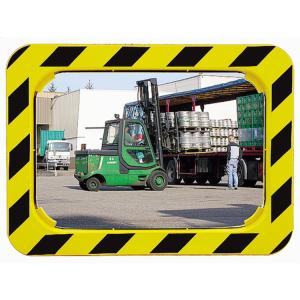 Industriespiegel Vialux®, schwarz / gelb, eckig (Maße (BxH)/Material/max. Beobachterabstand/Gewicht/Garantie:  <b>600x400mm</b>/Miroirs® P.A.S.<br>ca. 9m/11 kg/ <b>5 Jahre Garantie</b><br>auf die Funktion (Spiegelglas,<br>Rahmen,Halterung) (Ar