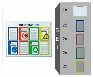 Infotafel Komplett-Set -Safetyline-, inkl. 1 Infotafel und 8 Klapprahmen in Signalfarben (Ausführung: Infotafel Komplett-Set -Safetyline-, inkl. 1 Infotafel und 8 Klapprahmen in Signalfarben (Art.Nr.: 34872))