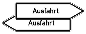 Innerbetrieblicher Wegweiser rechts / links -Ausfahrt- (Variante: rechtsweisend (Art.Nr.: 53.5788))