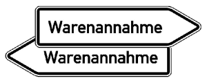Innerbetrieblicher Wegweiser rechts / links, Warenannahme (Variante: rechtsweisend (Art.Nr.: 53.5662))